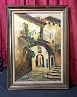 VINTAGE ANTIQUE OIL PAINTING ON CANVAS MEXICAN CITY STREET SCENE ARCHWAY SIGNED