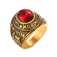 Mens Stainless Steel Red Stone United States Military US Marine Corps Rings Band