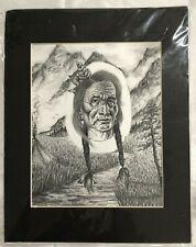 Angela Rose Pogue Native Tribal Pen & Ink Black & White Print Art Matted 11x14