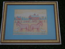 JACK SAVITSKY ORIGINAL FOLK ART PASTEL DRAWING SILVER CREEK MULE STABLE 1984