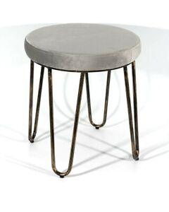 CANDIKO Grey Velvet Vanity Makeup Stool Chair Bronze Legs