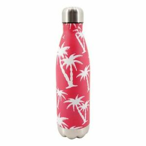 Red Stainless Steel Bottle With White Palm Tree Design, 17 oz, Double Walled