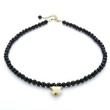 "Golden Heart pendant with Onyx beads Necklace 16"" SS 925 The Protection Stones"