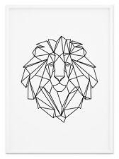 Fine Art Wandbild Origami LÖWE II Tierposter Schwarz & Weiß Design Geometrisch