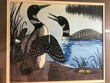 Original  1946 Phillip Hexom Painting of Loon