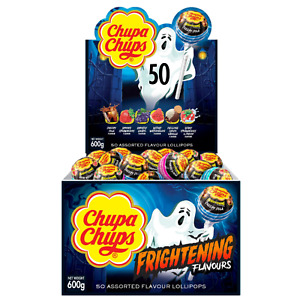 Chupa Chups Frightening Flavour 12g x 50 Pack Assorted Flavours Halloween Treats