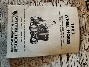 1982 Wheel Horse Suggested List Prices For Tractors, Attachments, Accessories