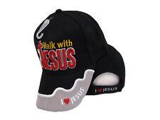 Walk With Jesus I Love Jesus Black Grey Christian Embroidered Cap Hat (TOPW)