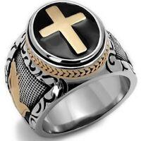 Stainless Steel Christian Holy Cross Prayer Ring for Men Wedding Band Size 7-12