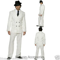CL351 Mens White Gangster 20s 1920s Pinstripes Suit Fancy Dress Mobster Costume