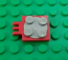 Lego Red 2x2 Stud 3 Prong Grey Swivel Round Spin Turntables - 1 piece