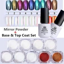 9Boxes Born Pretty Mirror Powder Nail Art Chrome Pigment W/Base & Top Coat Set