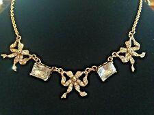 Vintage Betsey Johnson ICONIC Gold Bow & Crystal Necklace and Bracelet SET!!