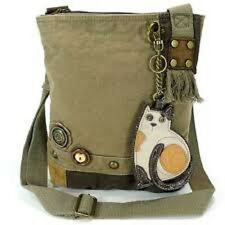 New Chala Handbag Patch Crossbody LAZZY CAT Bag Canvas gift School Olive Green