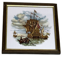 Vintage H &R Johnson Ceramic Glazed Tile Nautical Art Early Sailing Ship England