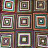 VTG Colorful Hand Crocheted Granny Square  Afgan, Blanket Throw Approx 50x50 In