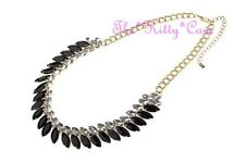 Deco Victorian Classic Jet Black + White Marquise Bling Gold Chandelier Necklace