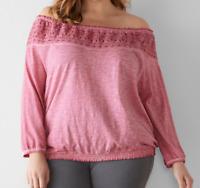 Women's Sonoma Goods Plus size 1X 2X Crochet off Shoulder Top Cotton NWT 44$