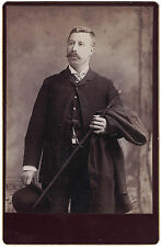 Cabinet Photo of Aristrocratic Looking Man w/ Cane Top Hat from early 1900s