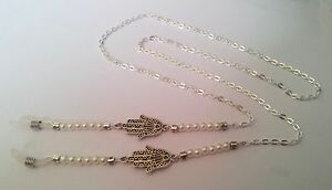 Eye Glasses Holder Lanyard Fashion Necklace Chain HANDMADE Silver Hand & Pearls
