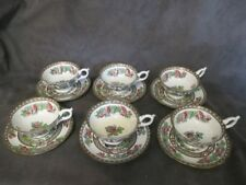 X4 Coalport Multicolored Indian Tree 6 Wide Mouth Footed Cups & Saucers