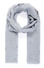 Classy Grey and Silver Foil Brush Strokes Summer Pashmina Scarf Wrap Sarong