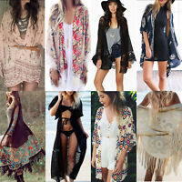 Womens Boho Floral Beach Cover Up Kimono Cardigan Coat Tops Blouse Shawl Kaftan