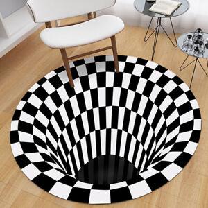 3D Vortex Rug Visual Illusion Rug Anti-Skid Area Dining Room 3D Carpet Floor Mat