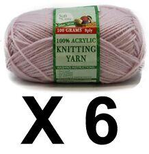 Knitting wool 6 x 100g acrylic yarn Pastel Purple 8ply 100%25 Brand New