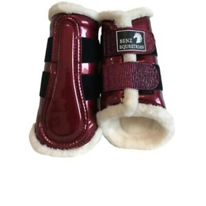 BLINGY BURGUNDY PATENT BRUSHING TENDON DRESSAGE PROTECTION BOOTS FLUFF XS-XL