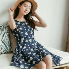 Women Floral Printing Dress A Line Sleeveless Casual Cotton Summer New with Belt