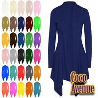 Ladies Long Sleeve Open Front Plain Ribbed Drape Waterfall Cardigan Coat Top