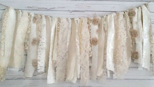 Oatmeal Shabby Chic Garland Rag Tie Banner by Modern Rag Quilts