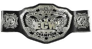 ECW World Wrestling Entertainment Champion Belt Leather Thick Metal Plates Adult