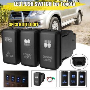 3x Push Switch Driving Reverse LED Light Bar For Toyota Land Cruiser Hilux RAV4