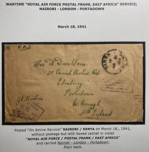 1941 Nairobi Kenya Royal Air Force Censored Airmail Cover to Portadown Ireland