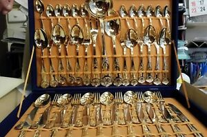 GOLD COLOURED CUTLERY SET 51 PIECEs BRAND NEW IN DISPLAY BOX VELVET LINED