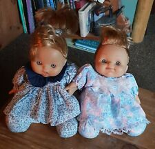"""2 JC TOYS BABY DOLLS FLORAL DRESS LIFE LIKE RUBBER FACE TWINS SOFT BEAN BAG 9"""""""