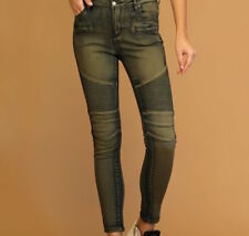 Plus Size High-Rise Moto Jeans - Olive