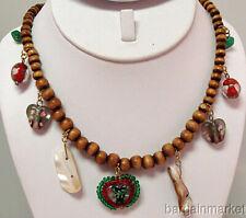 Funky Wood Bead Lampwork Choker Necklace