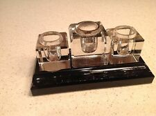Vintage Inkwell Black Marble Base with 3 Crystal Inkwells No LIds Quill Rest