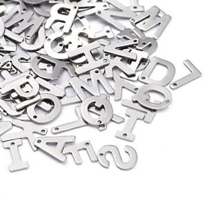 200pc 304 Stainless Steel Letter Charms Alphabet Pendants Mixed Loose Bead 11mm