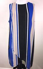 CHICOS Black Tan Blue White Stripe Sheer Lined Shirt Dress Size 1