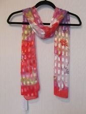 CJ Banks Floral print scarf, windowpane fabric, coral, pinks 100% polyester NWT