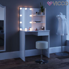 VICCO Schminktisch DEKOS Weiß mit Hocker u LED Beleuchtung Frisiertisch Kommode