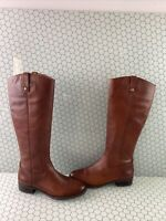 I.N.C 'FAWNE' Brown Leather Block Heel Side Zip Knee High Boots Women's Size 10M