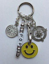 Personalised POP Keyring Gift - Clock/Compass - Smiley Face Trolley Token