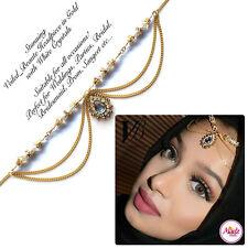 Gold White Head Hair Piece Indian Costume Jewellery Matha Patti Scarf Hijab