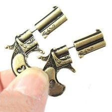 1Pair Women Vintage Bronze Ancient Silver 3D Pistol Shape Stud Earring Jewelry
