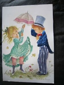 Spain Silk Embroidered Postcard 1970's Blue and silver suited boy  Constanza